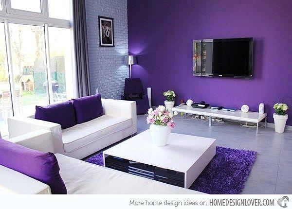 Warna Cat Dinding Ruang Tamu Yang Bagus Warna Ungu Purple Room Design Purple Living Room Cute Living Room