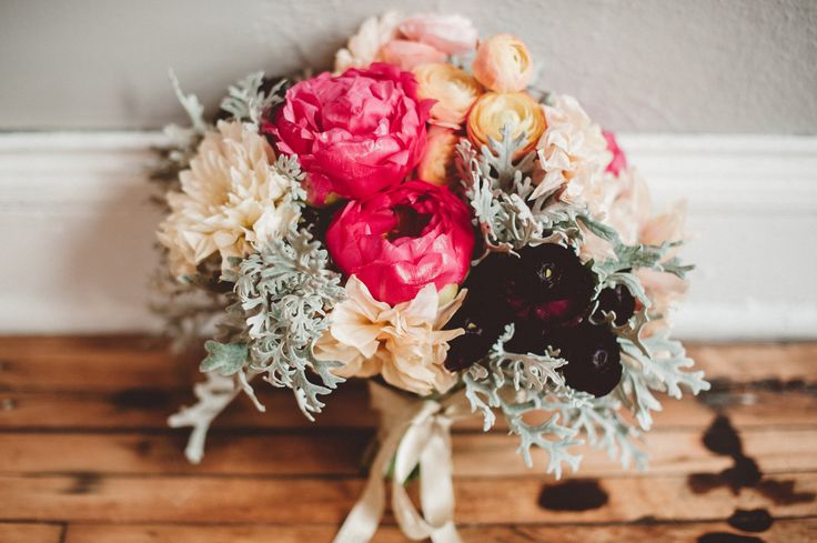 Blog — Kindred Blooms   pink peonies with dusty miller and orange ranunculus   bridal bouquet