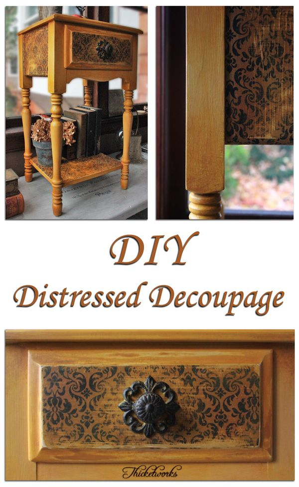 DIY project showing a great distressed Decoupage technique! Love this tutorial by Thicketworks, her projects are the best!