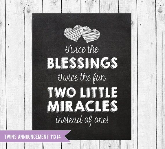 Twins Pregnancy Announcement Chalkboard // Twins are a blessing announcement // Pregnant With Twins Instant Download JPEG Printable