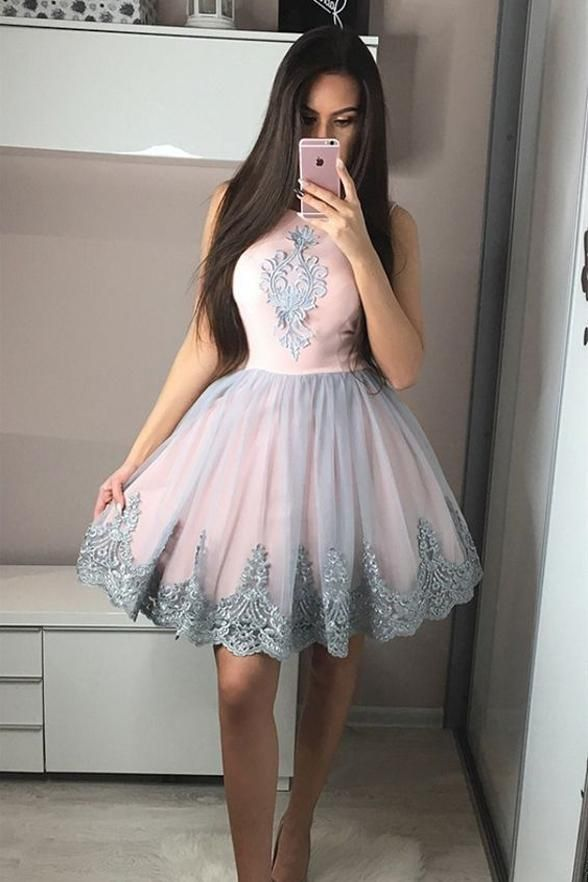 fdfdf5901a A Line Cute Dress Grey Lace Applqiues Pink Short Prom Homecoming Dresses  Hoco Gowns LD1422
