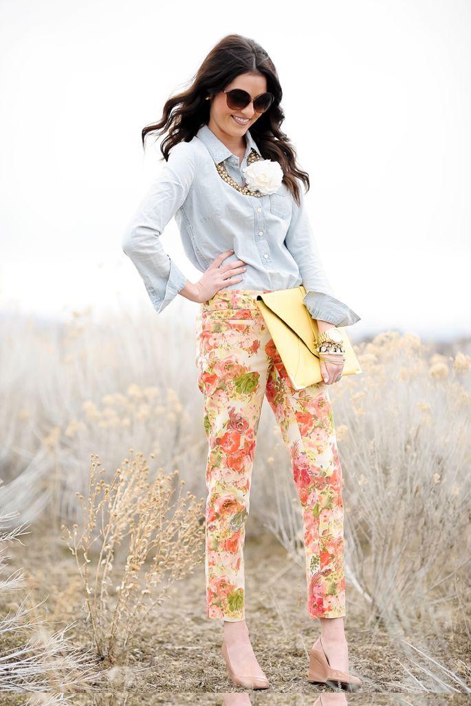 Chambray + Floral: Floral Patterns, Style, Floral Prints Pants, Denim Shirts, Outfits Ideas, Floral Pants, Floral Jeans, Flower, Floral Fashion