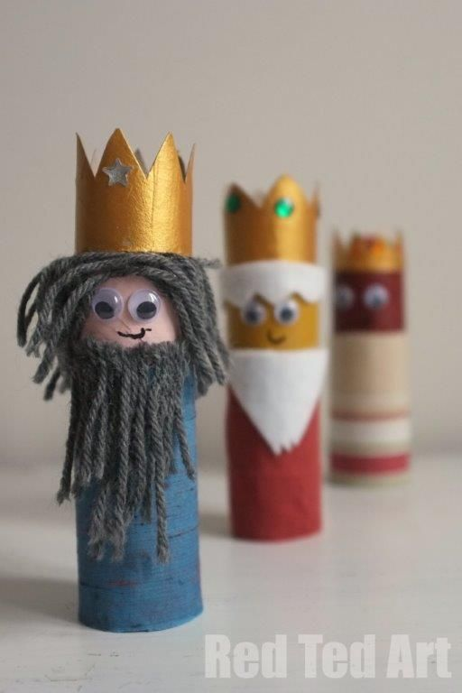 DIY CRAFT **Toilet paper rolls** Kids Crafts: 3 toilet roll Kings bearing christmas gifts