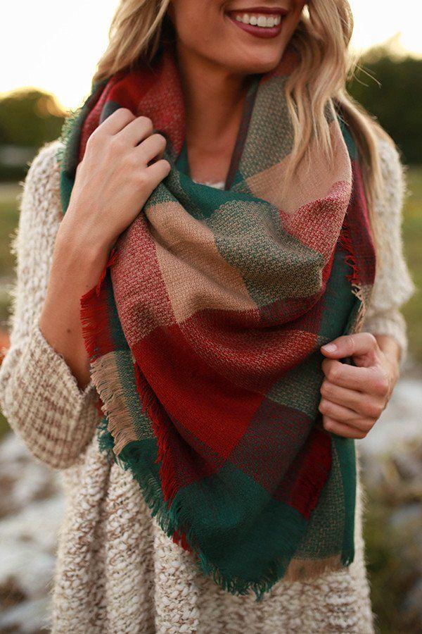 Plaid Cuddles Blanket Scarf