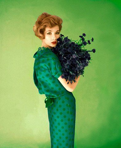 Jessica Ford in couture silk blue dress with green polka dots by Dan Keller, 1958
