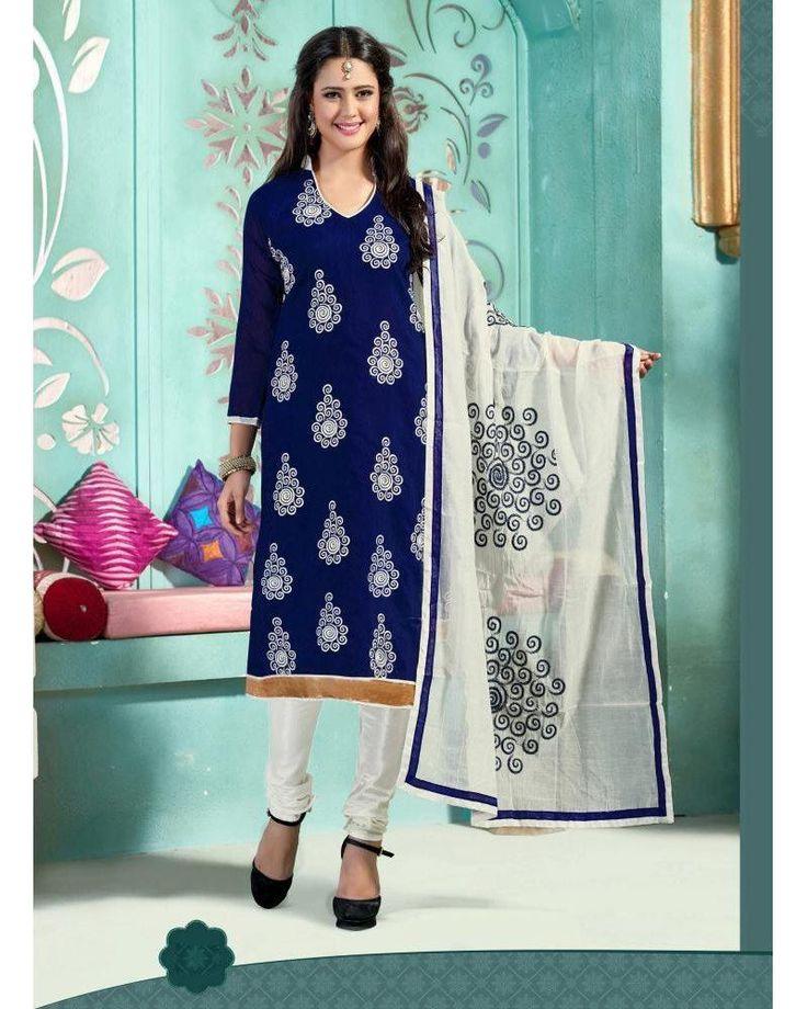 Buy Khushali Fashion Chudidar Dress Material Blue White at room2shop.com Indias biggest shopping store