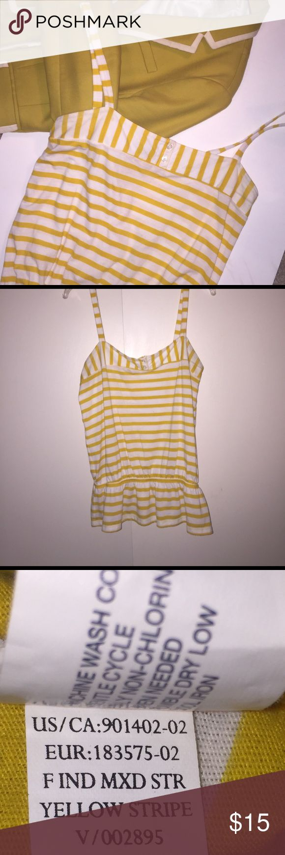 """Yellow stripe Gap Outlet peplum top Spaghetti straps with a 7"""" drop. 27"""" from shoulder length. Bust stretched 38"""". Waist is 30"""" unstretched. Top is in excellent used condition. No pills or fading. Photos show fabric and wash instructions. Bin 22 GAP Tops"""