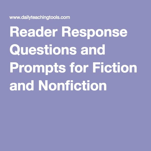 reading response essay prompts Reader response questions: these prompts give students focus and purpose as  they respond in writing to fiction and nonfiction they have read  .