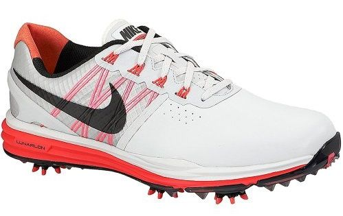 Technical TPU and carbon fiber midfoot shank on these mens lunar control 3 golf shoes by Nike provide lower, lighter, more stable control