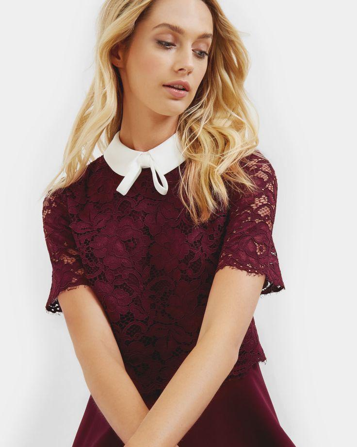 Layered lace dress - Oxblood   Dresses   Ted Baker SEU