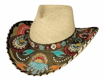 """Gypsy Queen"" by Bullhide: Gypsy Queen, Straw Hats, Cowboys Hats, Westerns, Panama Straws, Queens, Straws Hats, Cowboy Hats, Cowgirl Hats"