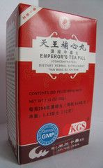 Tian Wang Bu Xin Wan - Emperor's Teapill   Best Chinese Medicines. This is one of the most famous herbal formulas in Traditional Chinese Medicine. It is used by Chinese doctors for insomnia associated with palpitations (a sensation of the heart beating, which is usually not felt), poor memory and anxiety.  One may also have:  difficulty staying asleep  many dreams seminal emission in men  dry mouth or mouth and tongue ulcers  dry stool