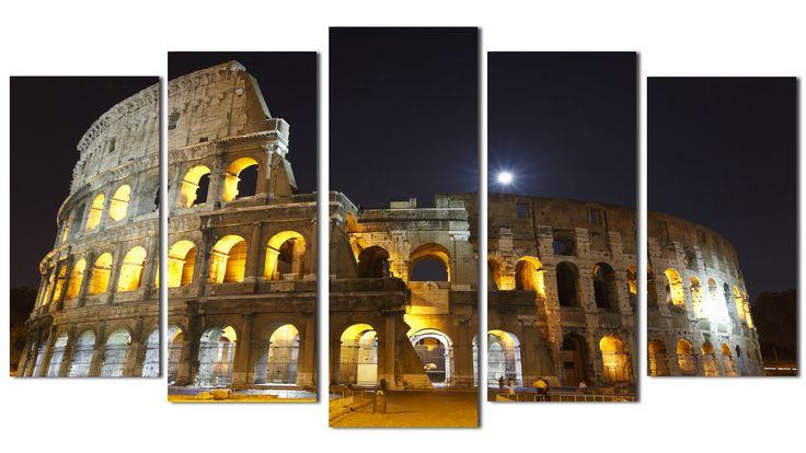 #Cuadro #Coliseo de #Roma, de noche iluminado, lienzo 5 piezas, 150x80cm
