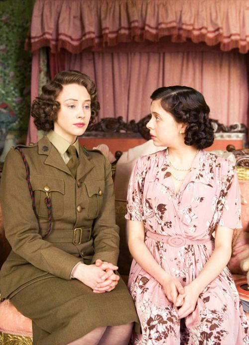 Young Princess Elizabeth and Princess Margaret - Sarah Gadon and Bel Powley in A Royal Night Out (2015)