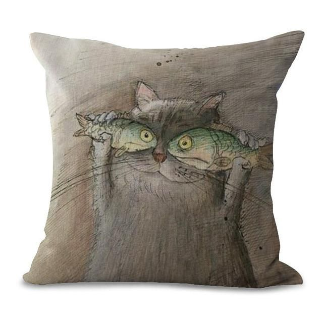 Cat Print Decorative Pillows