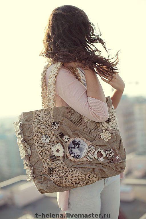 "Купить Сумка ""Garret Lady"" (Чердачная Леди) - сумка, бохо, бохо-шик, лен, кружево"