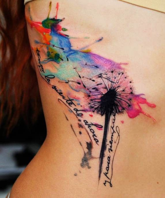 Dandelion watercolor side tattoo for girls