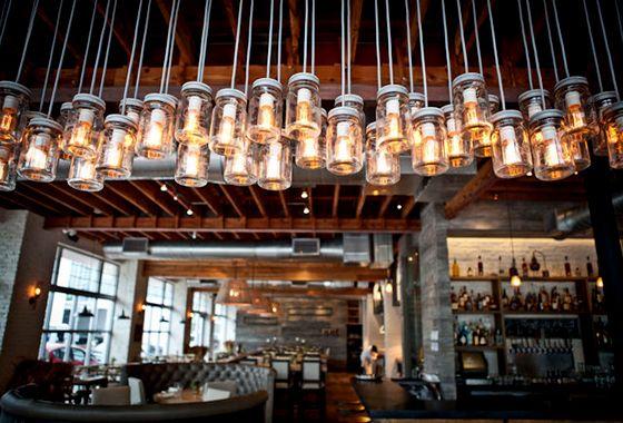 Awesome Mason Jar lighting @ Yardbird – Southern Table & Bar - Run Chicken, Run!  via diegoguevara.com