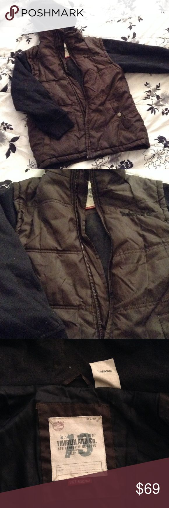🆕 Boys TIMBERLAND PUFFER HOODIE COAT, Jacket Med Size 10-12 MEDIUM : Brown and Black Timberland Coat, Polyester throughout,  Hood/Sleeves are Cotton/Poly blend. Perfect condition with the exception of a missing zipper. Price reflective of missing zipper. Otherwise this is a great piece to own. Nice for camping in winter or summer or Winter Wear! Sold as is. Timberland Jackets & Coats