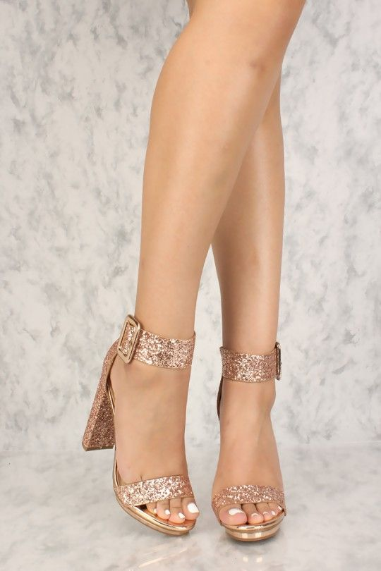 8883e03560e Sexy Rose Gold Chunky Heel Platform Pump Open Toe High Heels Glitter ...