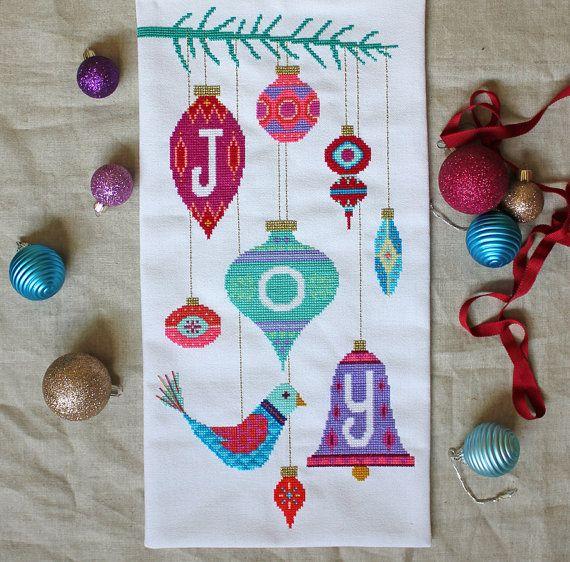 Joy - modern Christmas cross stitch embroidery pattern PDF - Instant download