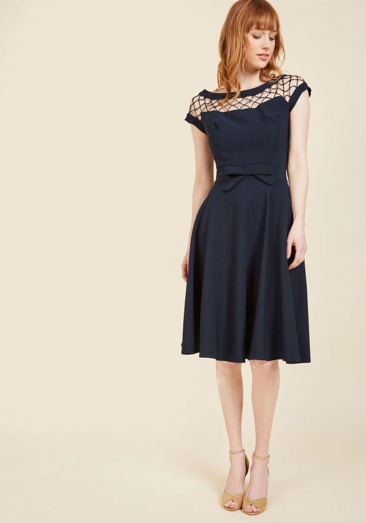 With Only a Wink A-Line Dress in Navy
