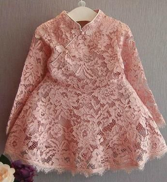 Girly Shop's Long Sleeve Pink Lace Girl Dress
