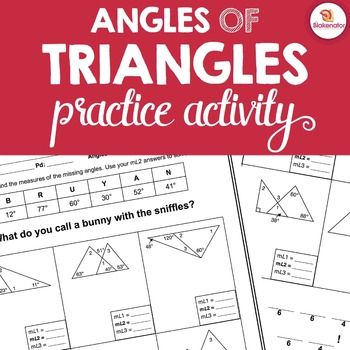 Students practice using the Triangle Angle Sum & Exterior Angle Theorems to find missing angles in triangles. 100% Ready to Go! Just PRINT & PRACTICE!