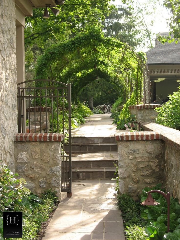 Beautiful arbor image detail for french country for Beautiful courtyard gardens