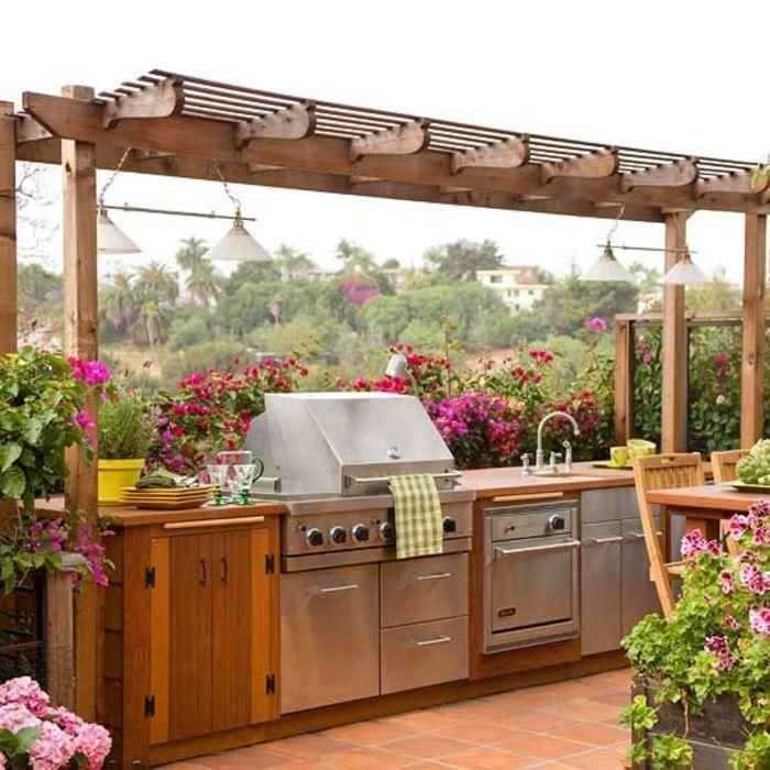 Outdoor kitchens should be usable, regardless of how hot the summer gets. Draperies, curtains and other shade treatments can block the sun before it goes down. If you want a more lasting approach, add a pergola overhead to maintain some natural light without sacrificing shade completely.