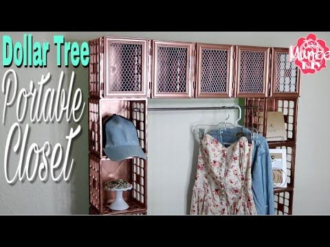 Dollar Tree DIY Portable Crate Closet - YouTube  Good as a bathroom organizer as well, use the bar for towels and wood blocks instead of plastic crates