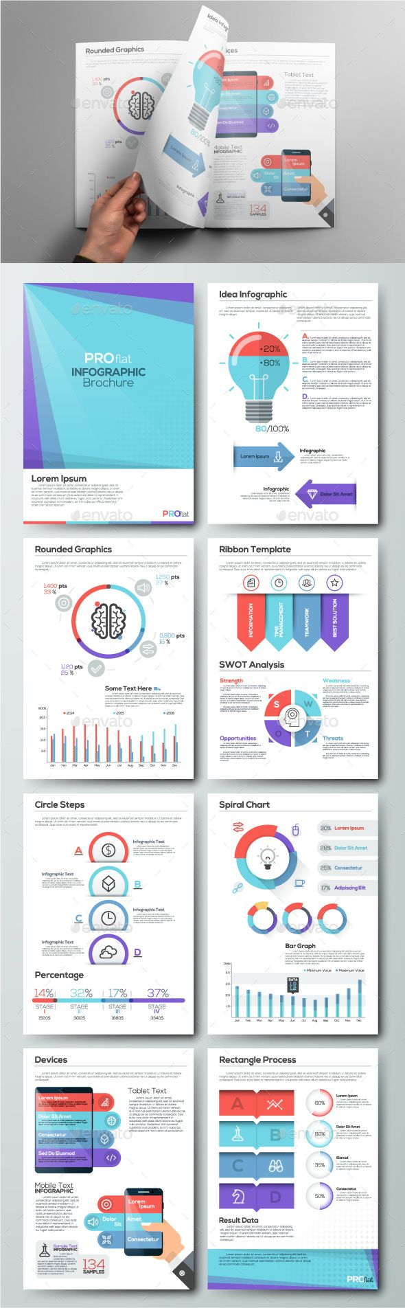 Pro Flat Infographic Brochure Template PSD, Vector EPS, AI Illustrator. Download here: http://graphicriver.net/item/pro-flat-infographic-brochure-set-4/16413838?ref=ksioks