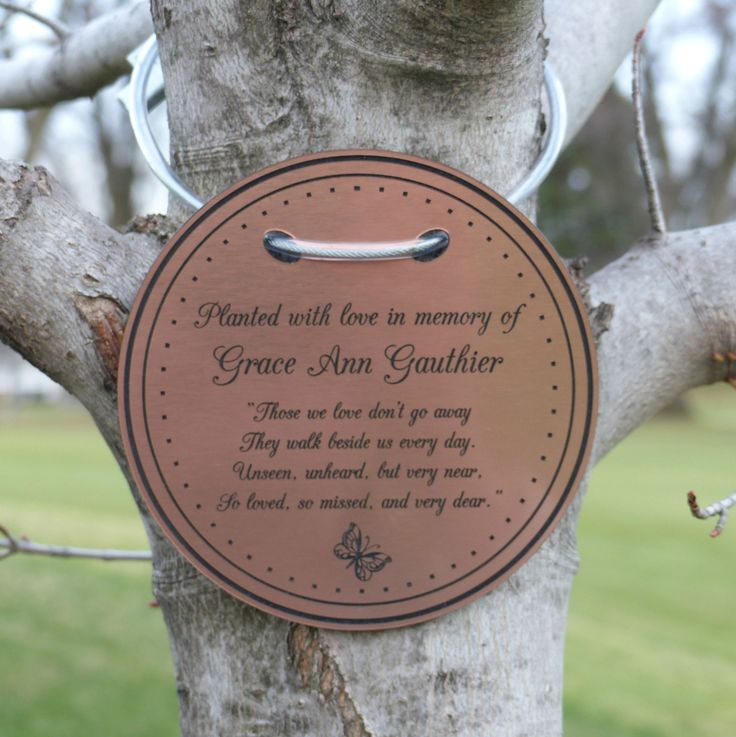 Tree Charm Tree Dedication Marker Tree Plaque Tree Tag