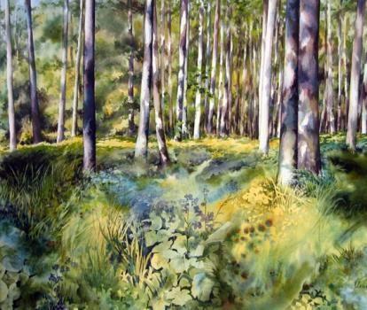 """VAL.H - """" Promenade en forêt de Rambouillet """" - Painting - Aquarelle"""