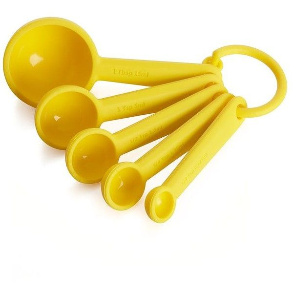 Crate & Barrel Yellow Measuring Spoons Set of 5 ($4.97) ❤ liked on Polyvore featuring home, kitchen & dining, kitchen gadgets & tools and crate and barrel