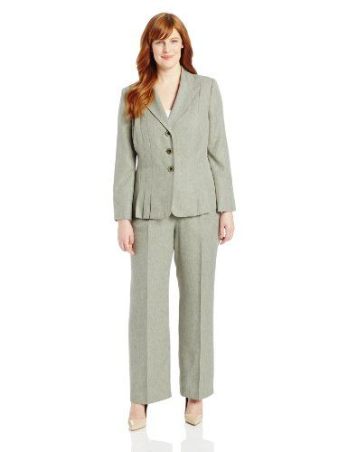 Le Suit Women's Plus-Size 3 Button Melange Accordian Jacket with Pant Suit Set, Sage, 18 Le Suit http://www.amazon.com/dp/B00FFZU6HC/ref=cm_sw_r_pi_dp_Rcy8vb07V0665