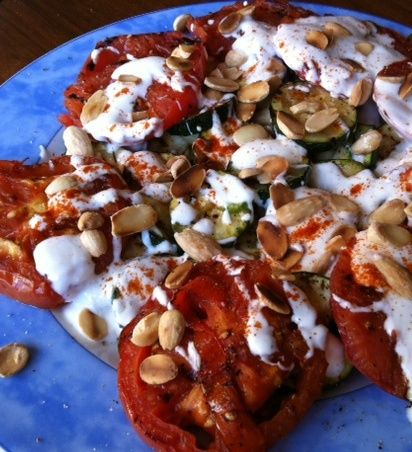 Grilled Zucchini and Tomato Salad with Roasted Almonds