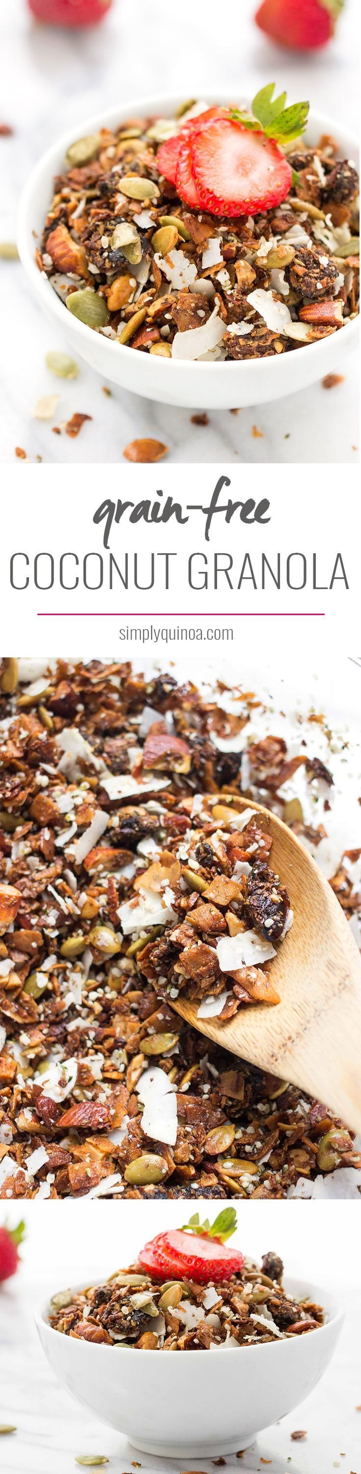 The PERFECT grain-free granola >> with coconut, almonds and chewy medjool dates! All clean eating ingredients are used for this healthy breakfast recipe. Pin now to make later!