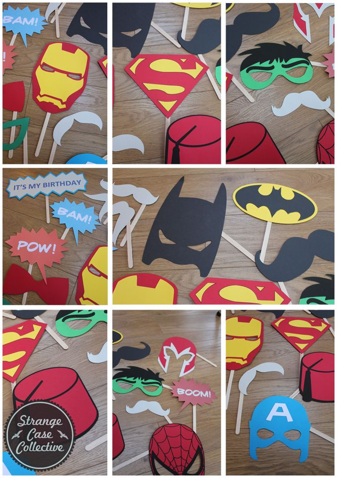 Superhero, comic book themed photo booth props! Very cute for a superhero
