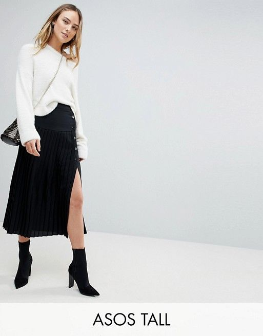 d75d40a71e74 ASOS Tall | ASOS TALL Pleated Midaxi Skirt with Side Button Detail Pleated Midi  Skirt,