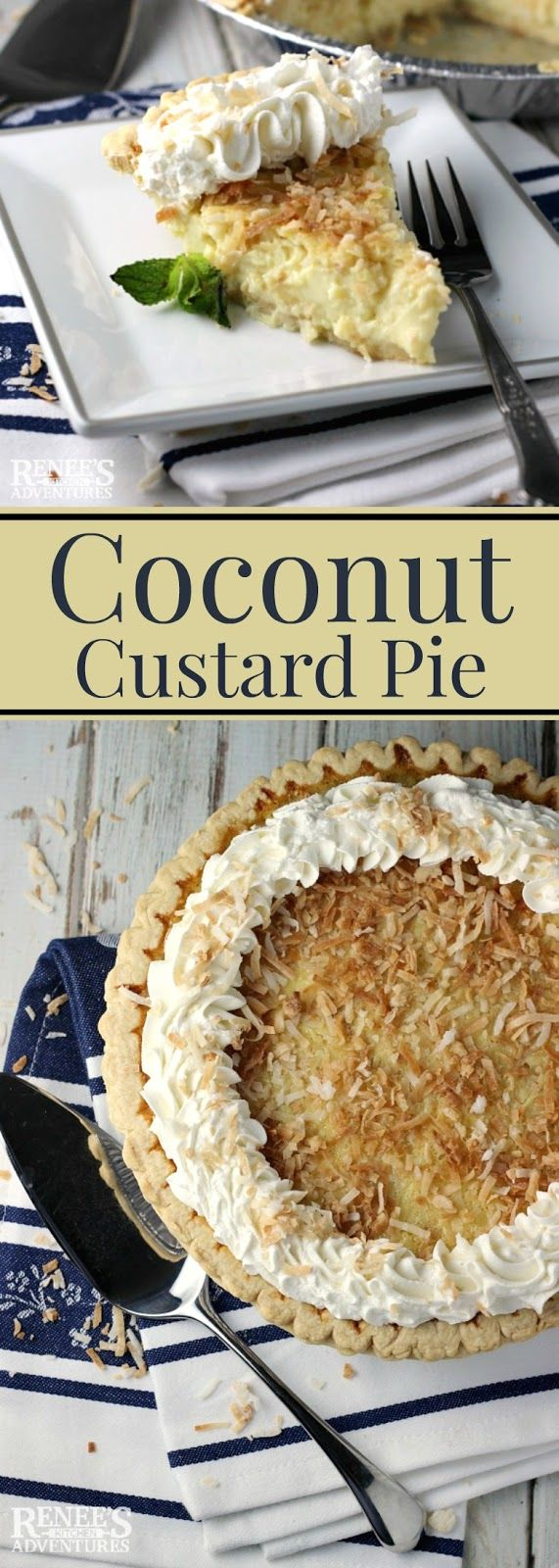 Coconut Custard Pie | Renee's Kitchen Adventures - easy dessert pie recipe for a toasted coconut custard pie made with milk, eggs and sugar. #SundaySupper