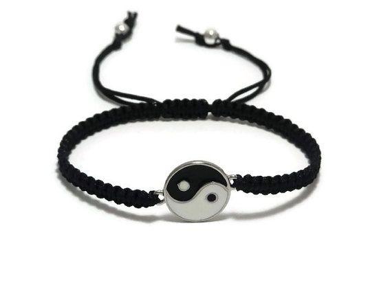 Yin Yang Bracelet, Bracelet macramé, Yin Yang bijoux, Ying Yang Bracelet, Bracelet de Yoga, Zen Bracelet, Bracelet de la paix, Bracelet unisexe
