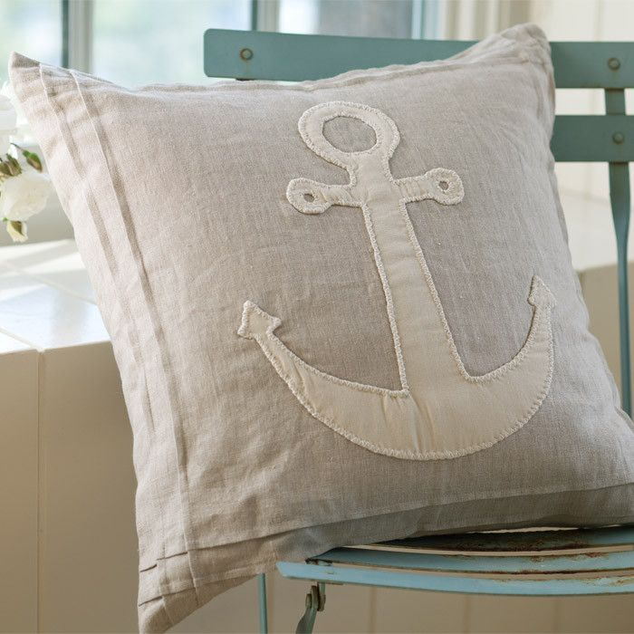 Natural Anchor Porch Pillow - linen cover and feather down filled pillow in natural and cream.