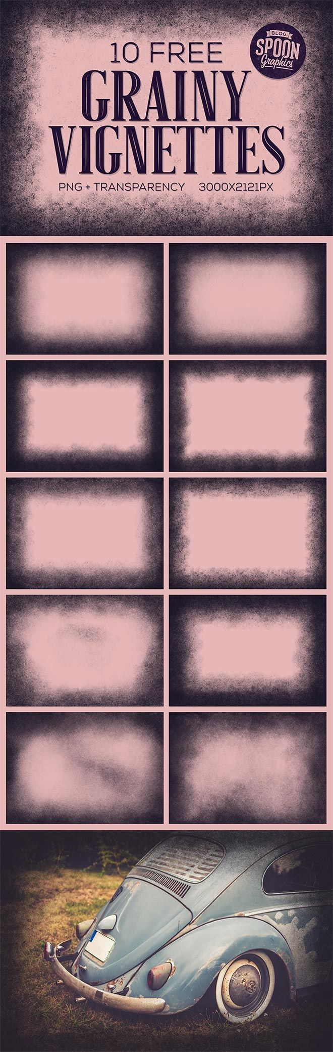 Download my new collection of grainy vignettes to add gritty effects to your artwork. These 10 free textures feature heavy speckling that gradually advances from the edges to produce a dirty vignette effect that helps you focus attention on design elements within the centre of the composition. Each image comes as a high resolution 3000x2121px …