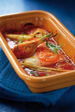 Kabeljauw in de oven met tomaat, venkel, sinaasappel en dragon