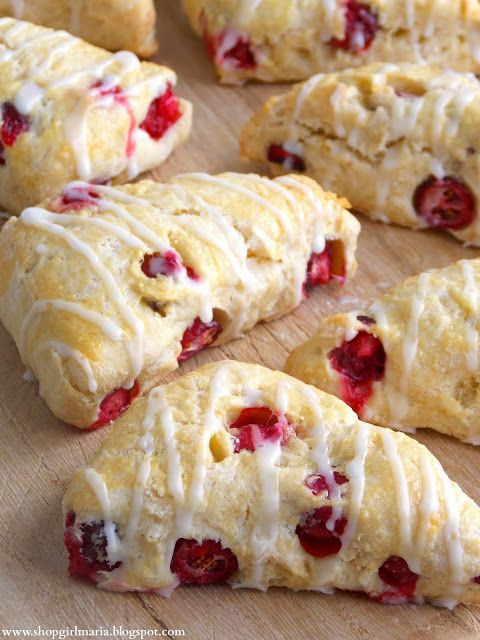 Fresh Cranberry Mini Scones... super delicious! perfect for thanksgiving morning!! I used orange juice for the glaze instead of lemon juice. I like a little sweeter scone :D