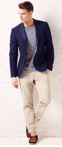 yes this it the look i like - but for girls  Blazer, chinos, navy stripe t-shirt and boat shoes.