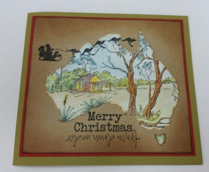 Stamp-It Australia: Kangaroo Sleigh 4919D, siset111 Outback House, Christmas Down Under 3935D. Card by Susan of Art Attic Studio