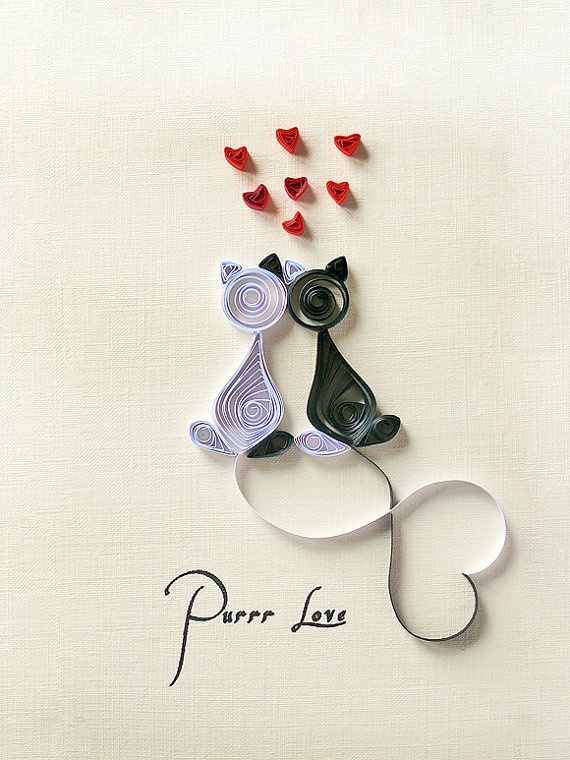 Handmade greeting card quilled Purrr love card heart by szalonaisa, $8.00
