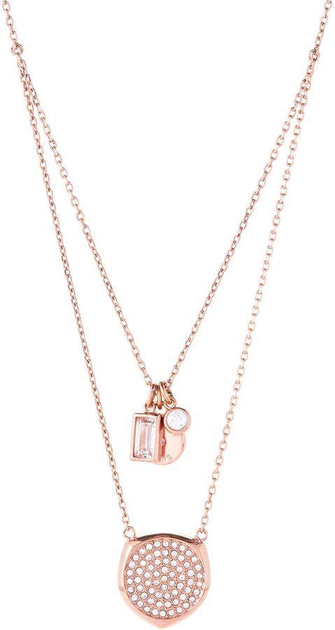 Michael Kors Rose Gold Tone Pave Pendant Layered Necklace Gold Jewerly Rose Gold Necklace Pave Pendant